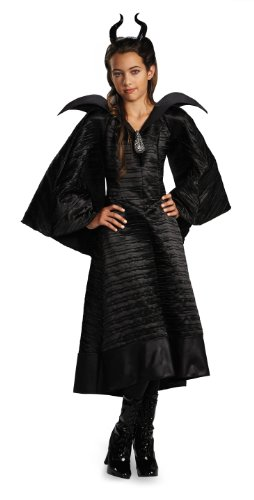 Maleficent Girls Costumes (Disney Maleficent Movie Christening Black Gown Girls Deluxe Costume, Medium/7-8)