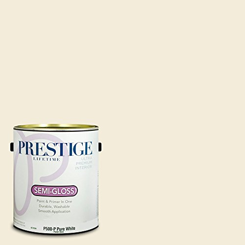 Prestige Paints Interior Paint and Primer In One, 1-Gallon, Semi-Gloss, Comparable Match of Benjamin Moore Linen White