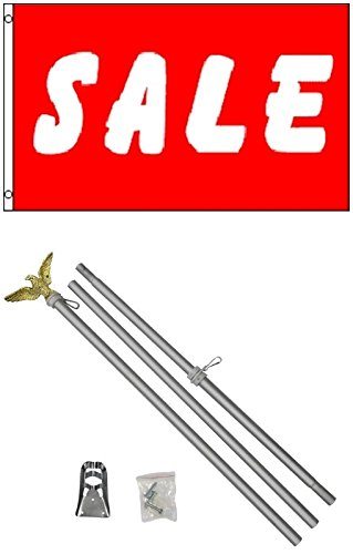 3x5 Red & White SALE Business Flag w/ 6' Aluminum Pole Kit