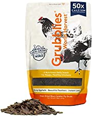 Grubblies World Harvest– Natural Grubs for Chickens - Chicken Feed Supplement with 50x Calcium, Healthier Than Mealworms - Black Soldier Fly Larvae Treats for Hens, Ducks, Birds (1 lb)