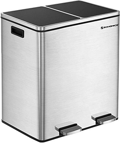 SONGMICS 16 Gallon Step Trash Can, Double Recycle Pedal Bin, 2 x 30L Garbage Bin with Plastic Inner Buckets and Carry Handles, Fingerprint Proof Stainless Steel, Slow Close ULTB60NL (Put The Recycle Bin In The Recycle Bin)