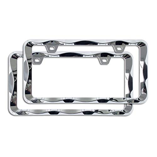 Sgooky 3D Curly Wave Pattern License Plate Holder Chrome License Plate Frame from Pure Zinc Alloy Metal Perfect Plate Holder (2pcs, Chrome)