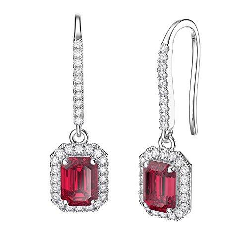Princesse Rubis et Diamants Argent Sterling Boucles d'oreilles émeraude (or blanc)
