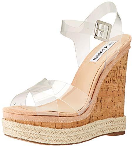 (Steve Madden Women's Maven Wedge Sandal, Clear, 7 M US)