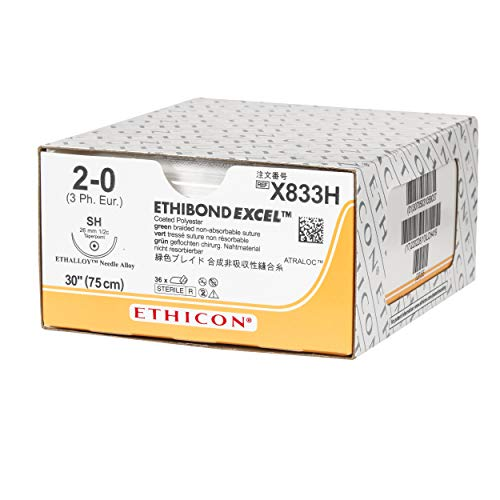 Ethicon ETHIBOND EXCEL Polyester Suture, X833H, Synthetic Non-absorbable, SH (26 mm), 1/2 Circle Needle, Size 2-0, 30