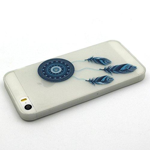 Coque Etui iPhone 5 5S SE , Leiai Fleur Bleue Silicone Gel Case Avant et Arrière Intégral Full Protection Cover Transparent TPU Housse Anti-rayures pour Apple iPhone 5 5S SE