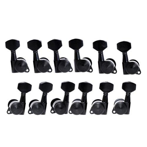12pcs FA-21 Auto Lock Tuning Pegs Tuners Machine Heads Black Tuning Keys 6L6R