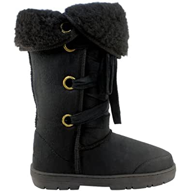 Womens Fur Lined Lace Up Winter Snow Boots - Black - 10 - 41 - AEA0100