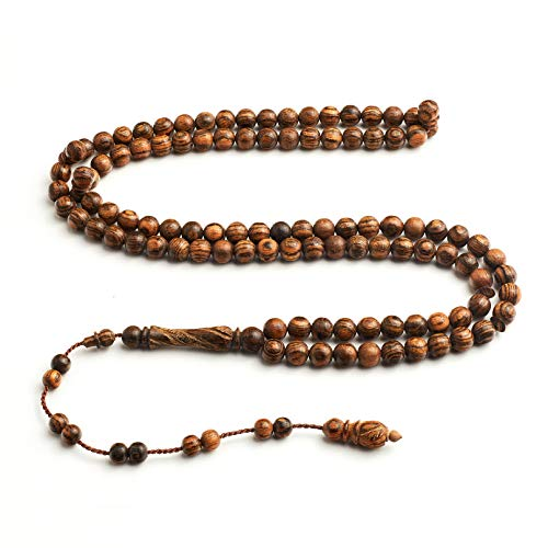 Bacote Wood - Handcrafted Islamic Prayer Beads- Signature InfinityBeads by BasmalaBeads- Oranmental Engravings (Seeker (10mm), African Bocote Wood)