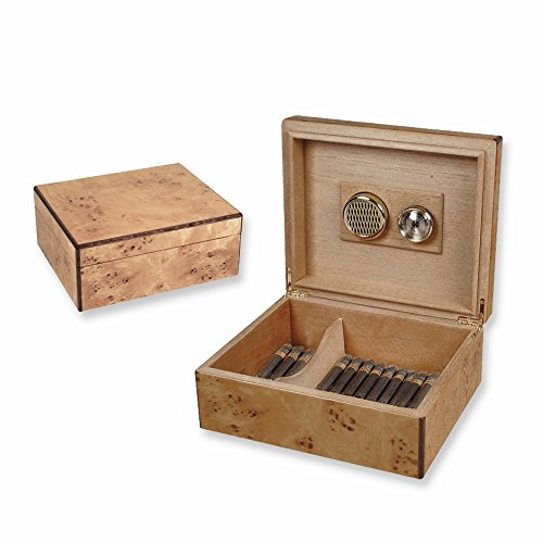 Burlwood Finish (Holds 50) Cedar Lined Cigar Humidor