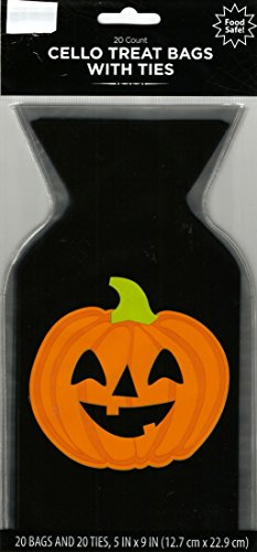 PUMPKIN HALLOWEEN SCARY CELLOPHANE BAGS (20 BAGS /1 PACK) 5 in x 9 in -