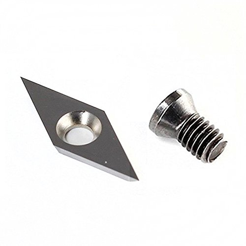 """YUFUTOL Sharp Point Diamond shape Detailer Carbide Cutter Insert 10mm(.394"""")X28mm(1.10""""),2.5mm(.10"""") Thickness , Pack of 1,Supplied With M4X8mm Screw For Wood Turning"""