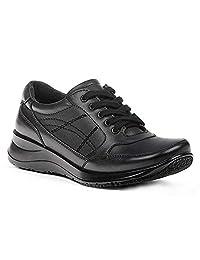 Yellow Shoes Women's Nurse or Food Service Genuine Leather Comfort Work Sneakers - Memory Foam - No-Slip