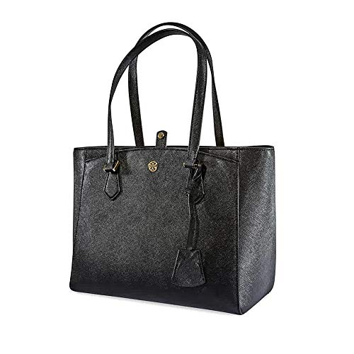 (Tory Burch Women's Robinson Small Tote Black One Size)