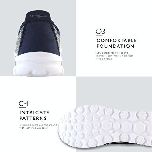 Dailyshoes Damessneakers Fit Mesh Instapmodel Wandelschoenen Met Memory Foam Inlegzolen - Ademend Mesh - Duurzame Zolen - Betrouwbare Grip - Perfect Voor Wandelen En Joggen Grijs Navy Mesh
