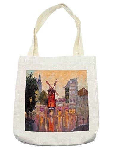 Lunarable European Tote Bag, Painting of Moulin Rouge in Paris City Centre of Love Vintage France Art Print, Cloth Linen Reusable Bag for Shopping Groceries Books Beach Travel & More, (Moulin Rouge Paris Costumes)