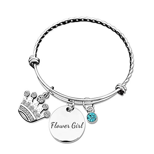 MUEEU Flower Girl Bracelet Bangle Adjustable Rhinestone Princess Crystal Crown Personalized Birthstone Bangles for her be My Bridesmaid (Flower Girl)
