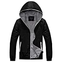 Amcupider Big Boys Hooded Jacket Lightweight Windbreaker X-Large Gray Zippered Black