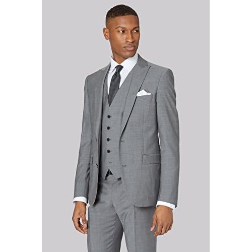 DKNY Men's Slim Fit Light Grey 3 Piece Suit 50%OFF