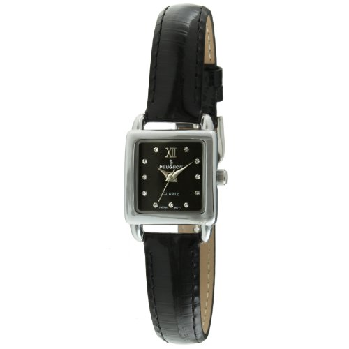Peugeot Women's Silver Small Square Case Crystal Marker Black Genuine Leather Strap Watch 3034BK Black Leather Square Watch