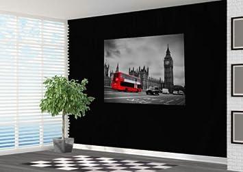 Schwarz Und Weiß London Mit Rot Bus Tapete Wand Wandbild Foto London,  Papier, Schwarz