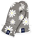 Encasa Homes Extra Long 35 cm Microwave Oven Gloves Mitts (2 pcs) for Kitchen Cooking - Grey Daisy - Heat Resistant, Thick & Safe, Protection of Hands from Hot Utensils, Gas Flame, Grill, Barbecue