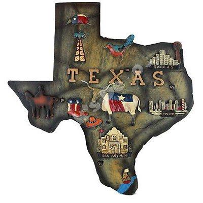 Polyresin Map Wall Plaque Texas Souvenir Large Size 9