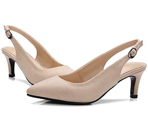 Dedo del pie puntiagudo Sandalias Mujer de BIGTREE Boda Zapatos de tacón Hebilla ajustable Slingback Vestir Sandalias Beige