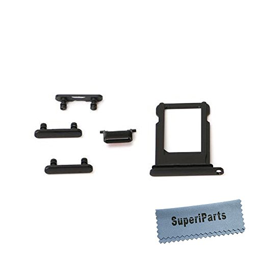 SuperiParts Original Sim Card Tray Holder Slot with Side Key Set Volume Power Lock Silent Buttons Replacement Repair Spare Part for Apple iPhone 7 7g +SuperiParts Cloth Black