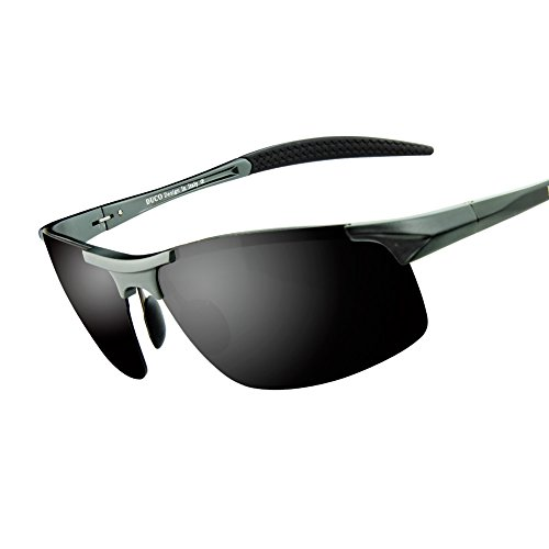 Duco Men's Sports Style Polarized Sunglasses Driver Glasses 8177S (Gunmetal Frame,Gray Lens)