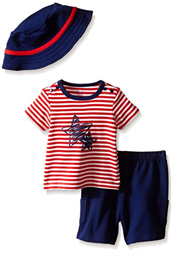 Little Me Baby Stars and Stripes Short Set and Hat, Navy,...