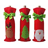 4 PCS Christmas Gift Bags Santa Reindeer Christmas Tree Wine Bottle Covers for Dress up Wine Bottle, Party Decorations with a Merry Christmas Gift Bags, Xmas Ornaments