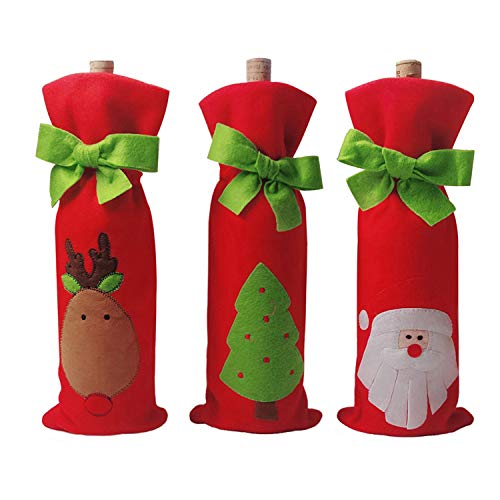 3PCS Wine Ornaments - Christmas Wine Bottle Decor set - Santa Claus Deer Bottle Cover Clothes - Christmas Tree Bows with a Merry Christmas Gift Bags - Kitchen Decoration for New Year Xmas Dinner Party
