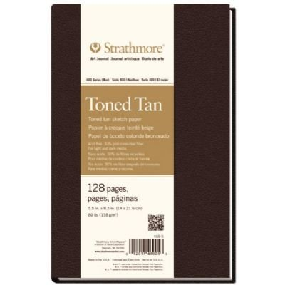 5 1/2'' x 8 1/2'' Sewn Bound Toned Tan Sketch Art Journal (Product Catalog: Paper Media, Canvas & Surfaces) by Strathmore