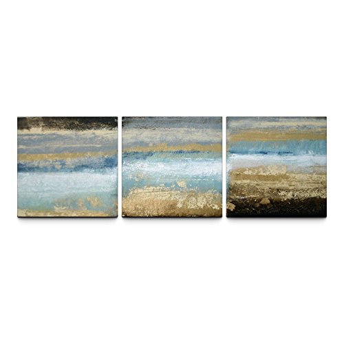 Tjie Art Hand Painted Mordern Oil Paintings Rising Tide 24 X 72in. Textured Canvas Prints Triptych 3-piece Beach Theme Set ,High-quality Prints on Canvas ,Stretched on Frame by TJie Art