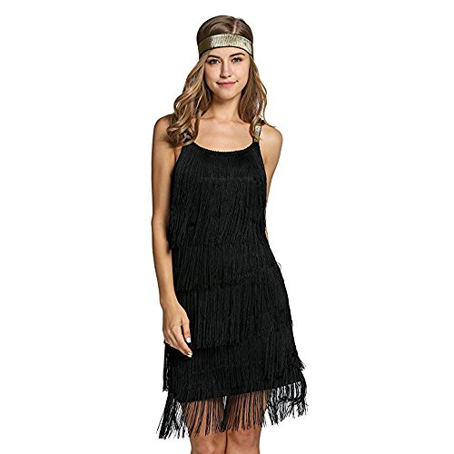 Dress Hem Fringe - Palove Flapper Girl Women's Vintage 1920s Tassels Hem Flapper Dress, Black/L