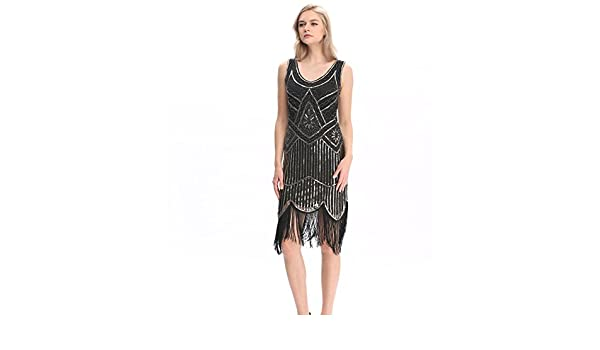 Vintage Women Plus Size Great Gatsby Dress Sleeveless V Neck