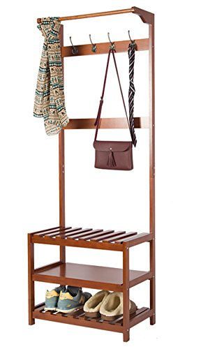 yaker's collection Wood Entryway Hall Tree Coat Rack with 4 Cloths Hat Hooks and 3 Tiers Storage Bench ()