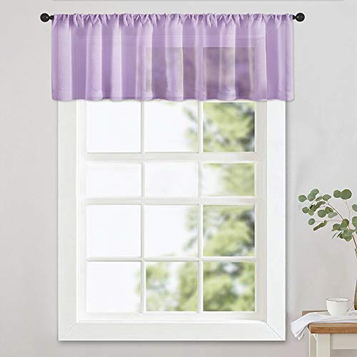 MRTREES Sheer Valances 16 inch Living Room Windows Voile Valance Bedroom Curtain Valances Sheer Rod Pocket Window Treatment Light Filtering 1 Panel Light Purple (Lilac Valance Curtains)