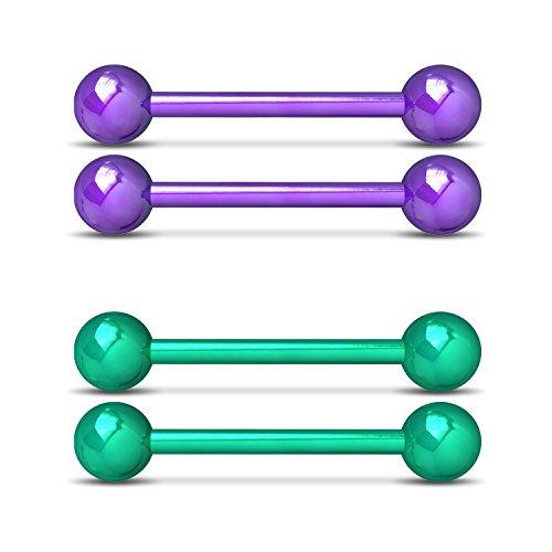 (SkullParty Nipplerings Piercing Women 14G Stainless Steel Nipple Barbell Rings Bar Body Piercing Jewelry (2 Pairs ( Purple + Green )))