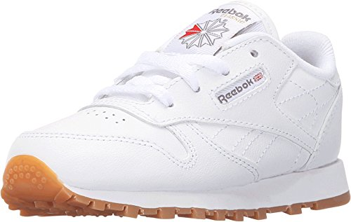 Reebok V69626 Infant Classic Leather Shoe, White/Gum - 9