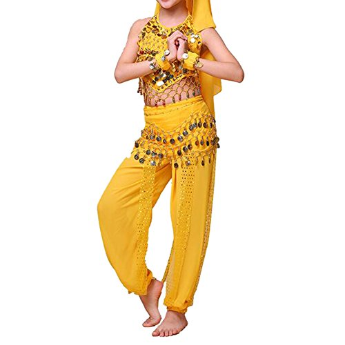 TOPTIE Kid's Belly Dance Girl Halter Top, Harem Pants, Halloween Costume Set-Yellow-L