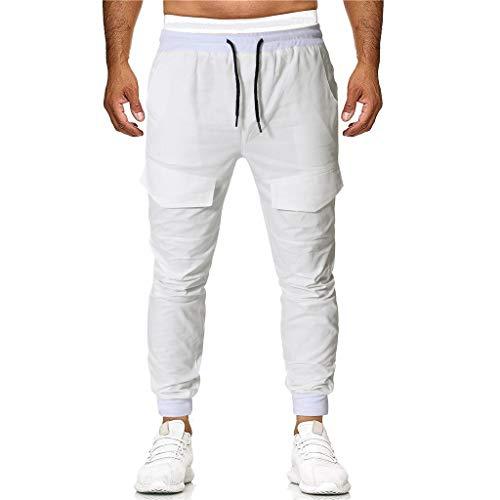 Seaintheson Men's Sweatpants,Casual Jogger Sport Workout Pants Elastic Waist Slim Fit Solid Baggy Pockets Trousers White