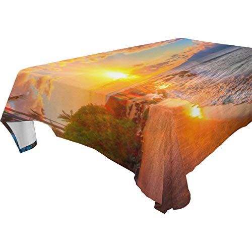 Table Cloth Hawaii Sunset Rectangle/Oblong Polyester Tablecloth Washable Table Cover for Holiday Dinner, Wedding, Restaurant Party