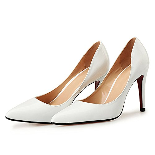Night Mens Club Heel High Womens Comfort Pump Pump Dress Stiletto and Party White Patent w4xFY4