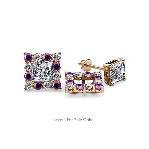 Amethyst and Diamond (SI2-I1, G-H) Halo Jacket for Princess Cut Stud Earrings 0.72 ct tw 14K Rose Gold
