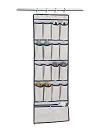 Organize It All 16 Pocket Over the Door Hanging Shoe Oragnizer with Bottom Storage