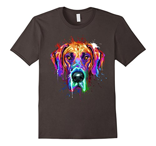 Mens Splash Art Great Dane T-Shirt | Dane Puppy Lover Gifts XL Asphalt
