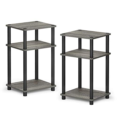 Furinno 2-11087GYW Just 3-Tier Turn-N-Tube 2-Pack End Table, French Oak Grey/Black