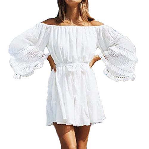 Womens Off Shoulder Floral Mini Dress boeson Dresses Summer Sundress Party Beach (Off Shoulder Peasant Dress)
